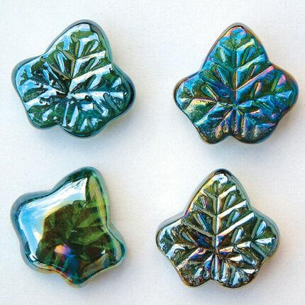 Üvegforma, darabra - levél, zöld