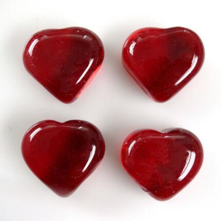 Üvegforma, darabra - szív, piros