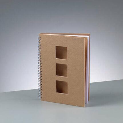 Papírmasé füzet - A5-ös 3 ablakos négyzet kivágással