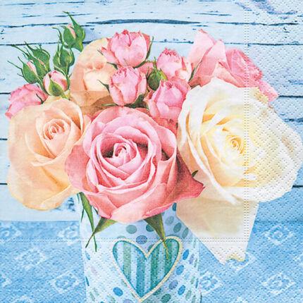Szalvéta - Rózsák kék háttérben (kk)