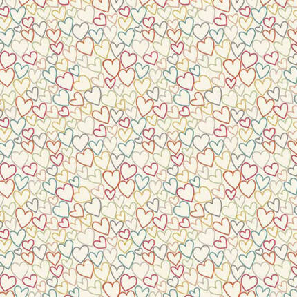 Patchwork anyag - Makower - Ellie 2071/T Hearts Cool