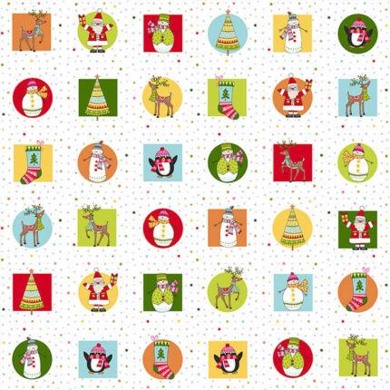 Patchwork anyag - Makower - Festive Christmas 2019 2117-1