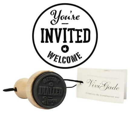 Pecsételő gumi fanyéllel, 3 cm - You're invited welcome