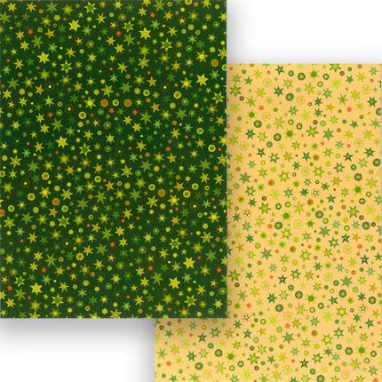 Fotókarton, A4 - csillagos,  zöld