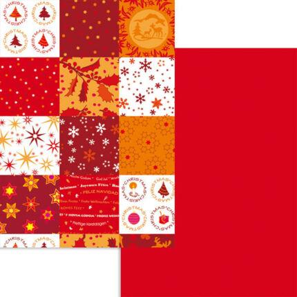 Fotókarton, A4 - karácsonyi patchwork, bordó-terrakotta