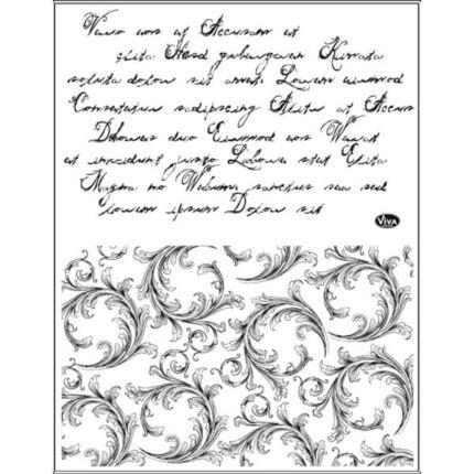 Pecsételő szilikon, 14x18 cm - Írás és viráginda