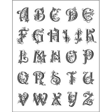 Pecsételő szilikon, 14x18 cm - ABC betűk, iniciálé, 2-2,5 cm