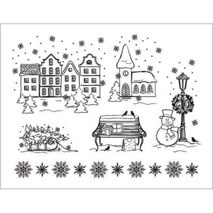Pecsételő szilikon, 14x18 cm - Karácsonyi látkép