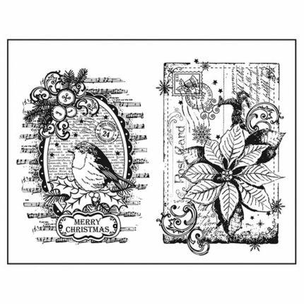 Pecsételő szilikon, 14x18 cm - Vörösbegy és mikulásvirág
