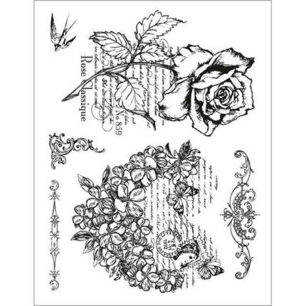 Pecsételő szilikon, 14x18 cm - Virágszív, rózsa