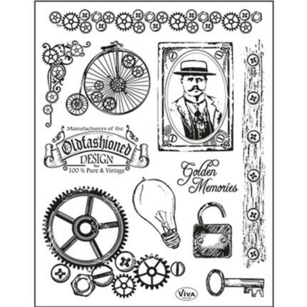 Pecsételő szilikon, 14x18 cm - Régimódi design, steampunk