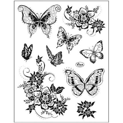 Pecsételő szilikon, 14x18 cm - Virágok és pillangók 2