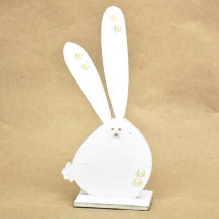 Színes fafigura - nyuszi talppal, fehér, 9x20 cm