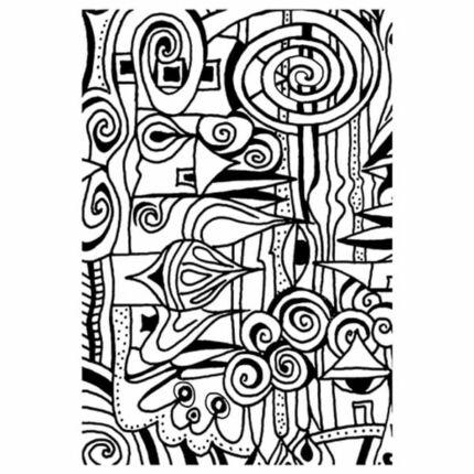 Pecsételő szilikon, 7,4x10,5 cm - Színező, falu