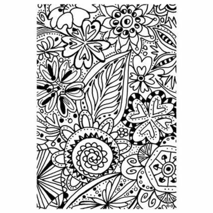 Pecsételő szilikon, 7,4x10,5 cm - Színező, virág