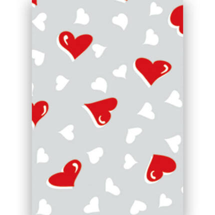 Transzparens papír, A4 - Kis szív, piros-fehér