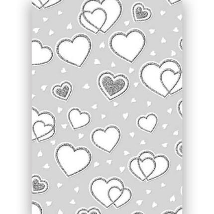 Transzparens papír, A4 - Glitteres szívek