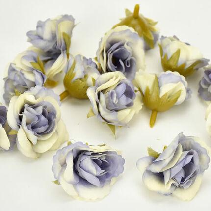 Művirág rózsafej, 3 cm - vintage kék, 1 db