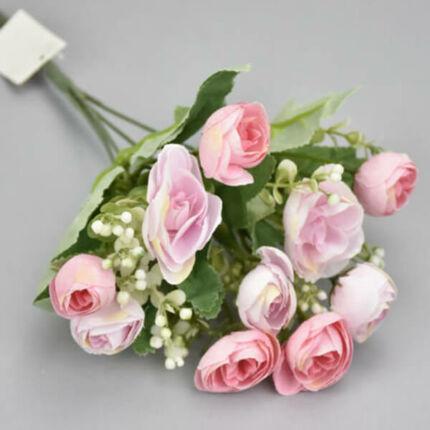 Művirág, boglárkacsokor rezgővel, 30 cm - rózsaszín