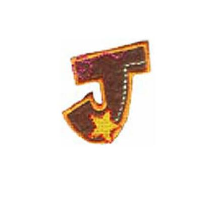 Textil betű, vasalható - J, színes