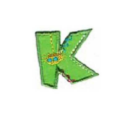 Textil betű, vasalható - K, színes