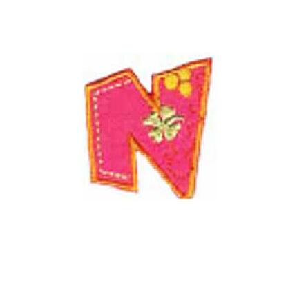 Textil betű, vasalható - N, színes
