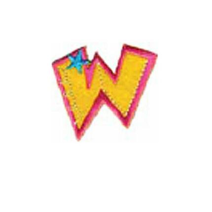 Textil betű, vasalható - W, színes
