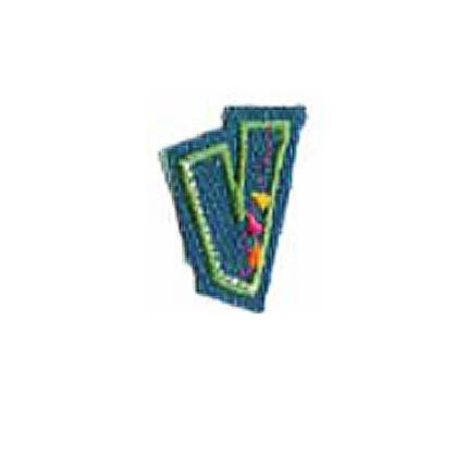 Textil betű, vasalható - V, farmer