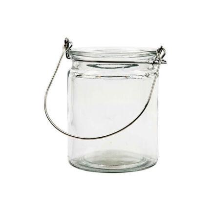 Üveg viharlámpa akasztóval - 8x10 cm