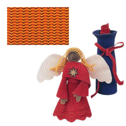 Sztreccs hullámpapír, 35x50 cm - narancssárga
