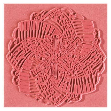 Felületmintázó gumilap, 9x9 cm - Music