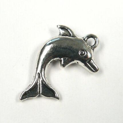 Charm, fémdísz - delfin