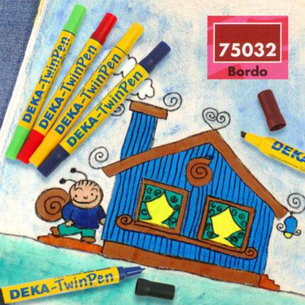 Deka TwinPen kétvégű textilfilc - bordó