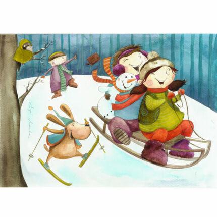 Egri Mónika kifestő, Gyerek figurák - Erdei szánkózás