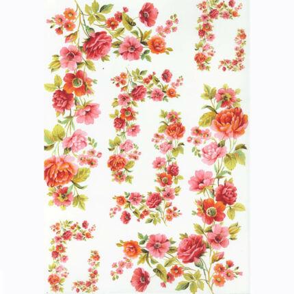 Rizspapír - virág girland