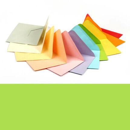 Boríték, C6, 11x16 cm - színes, bright green, 80 g