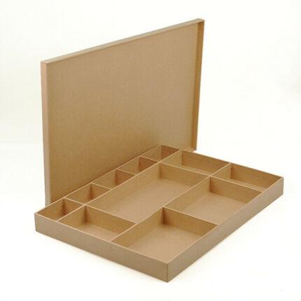 Papírmasé doboz, 11 rekeszes tároló tetővel - 30x40x4 cm