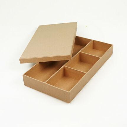 Papírmasé doboz, 4 rekeszes tároló tetővel - 30x16x4 cm