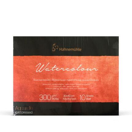Hahnemühle Watercolour Mould-made prémium akvarelltömb, 300 g, 10 lap, 30x40 cm, közepesen érdes