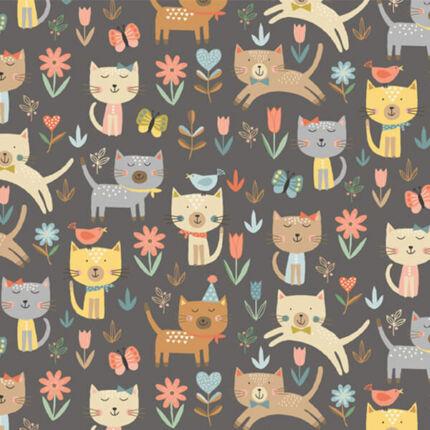 Patchwork anyag - Makower - Cool Cats 2183/S Cats Jumping grey