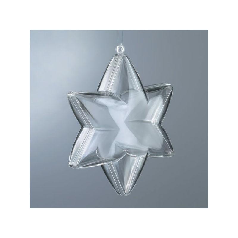 Kétrészes műanyag csillag, 10 cm, 6 ágú
