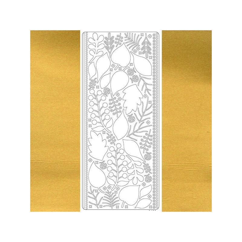 Kontúrmatrica - levelek, 3D, arany, 0425  - AKCIÓS