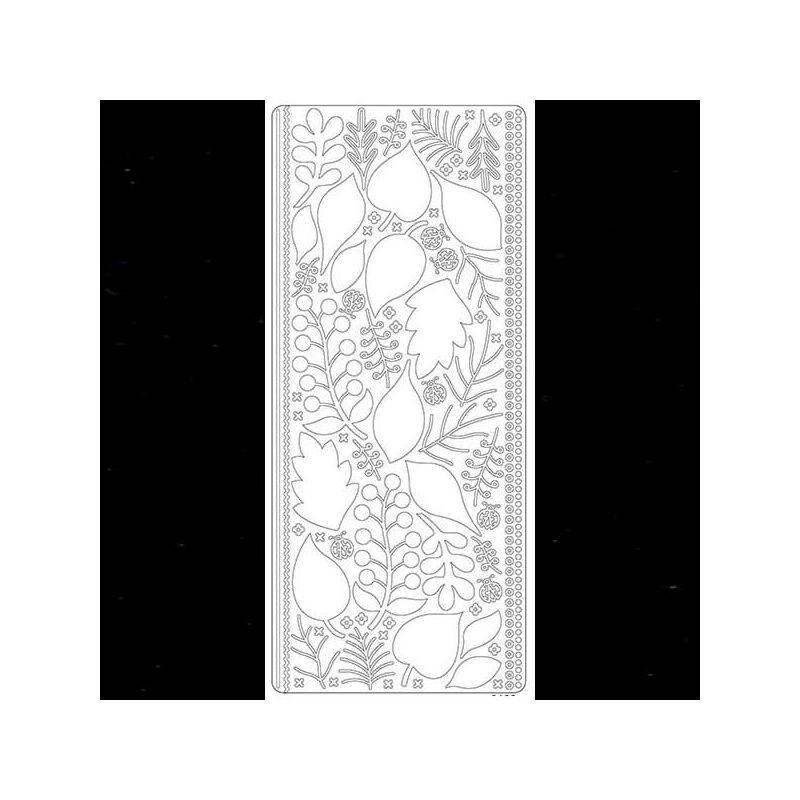 Kontúrmatrica - levelek, 3D, fekete, 0425  - AKCIÓS