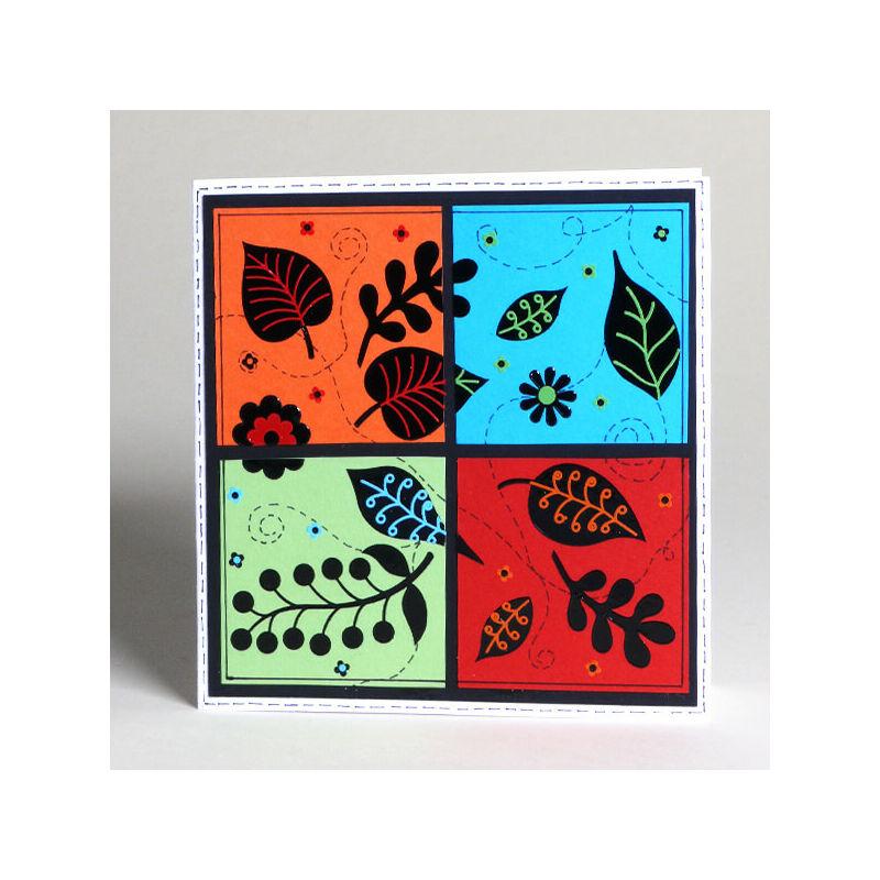 Kontúrmatrica - 3D levelek, piros, 0425  - AKCIÓS