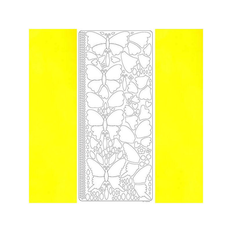 Kontúrmatrica - 3D pillangók, sárga, 0426  - AKCIÓS