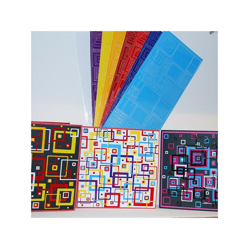 Kontúrmatrica - retró négyzetek, sötétkék, 0496  - AKCIÓS