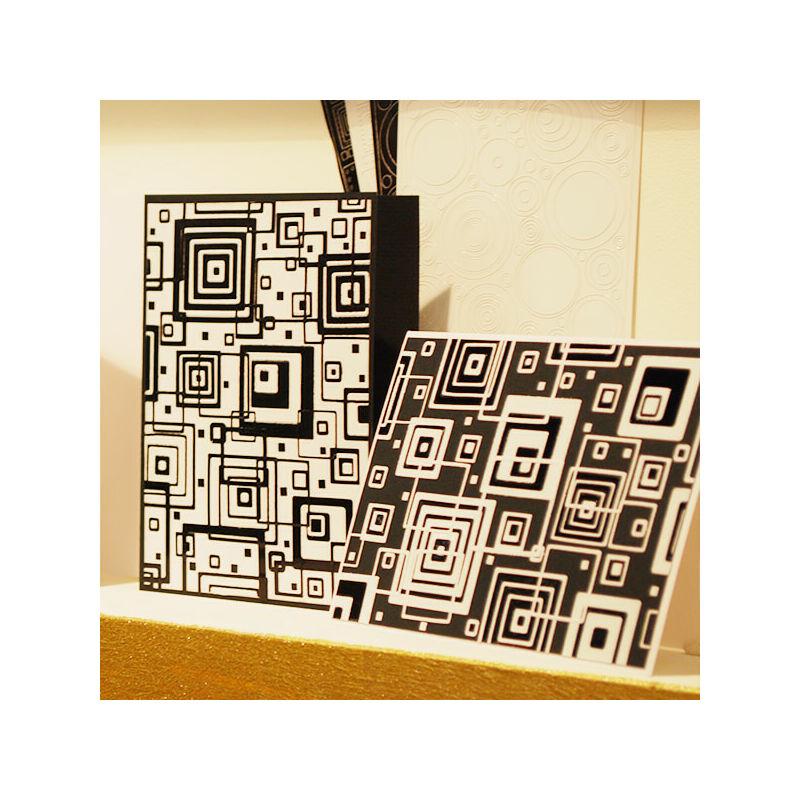 Kontúrmatrica - retró négyzetek, fehér, 0496  - AKCIÓS