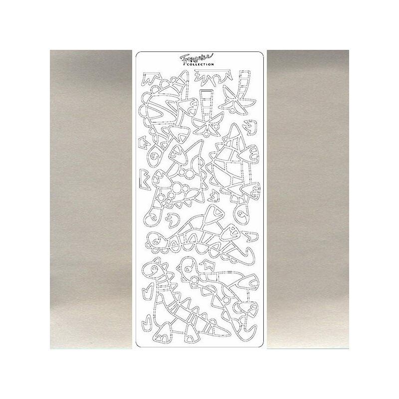 Kontúrmatrica - dínók, ezüst, 0861  - AKCIÓS