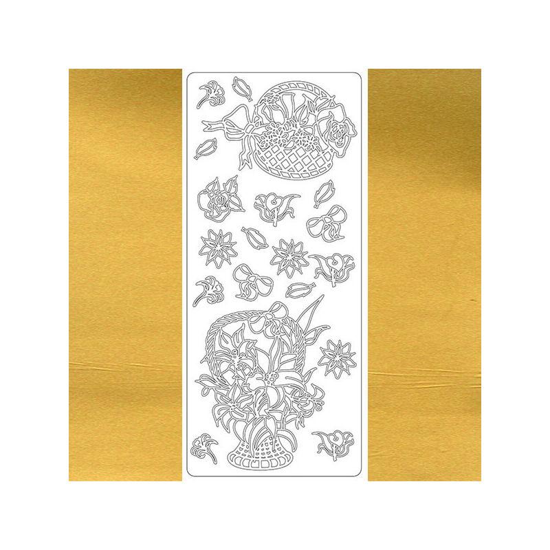 Kontúrmatrica - virágkosár, arany, 1644  - AKCIÓS