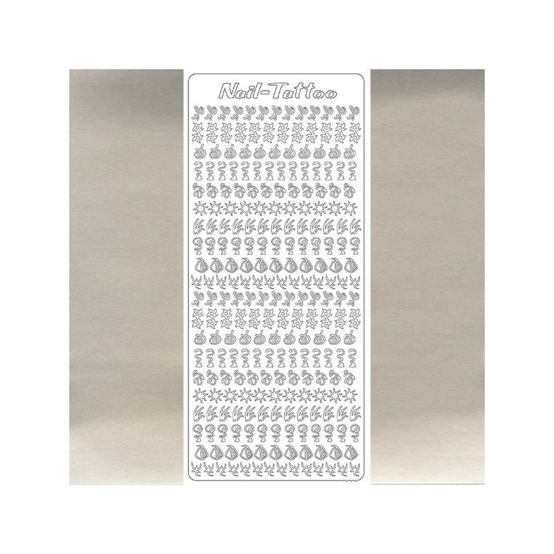 Kontúrmatrica - műköröm matrica, ezüst, 1806  - AKCIÓS